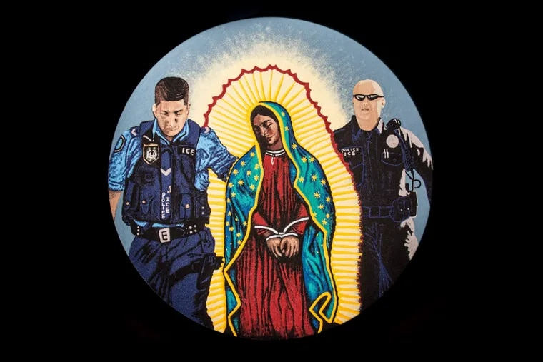 The sand mandala created by Katie Jo Suddaby, which shows the Virgin of Guadalupe being taken into custody by ICE. She wanted people to think about how the Virgin would be treated by the government if she arrived at the border today.
