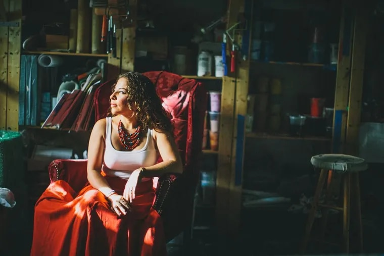 Painter Michelle Angela Ortiz in her South Philly home, among nine artists nationwide awarded fellowships by the Robert Rauschenberg Foundation.