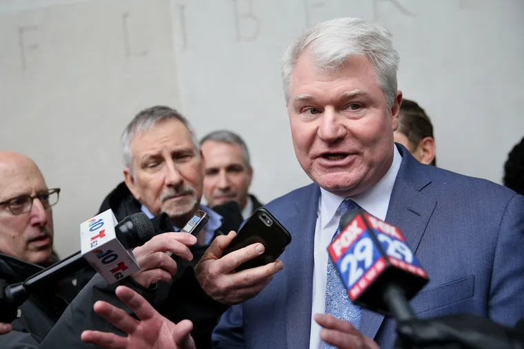 """John """"Johnny Doc"""" Dougherty, shown here shortly after his February 2019 arraignment, still has sway but some have learned to separate him from his union. """"The power of unions comes from its workers, the workers of all the building trades,"""" said the political director of one Philadelphia progressive group."""
