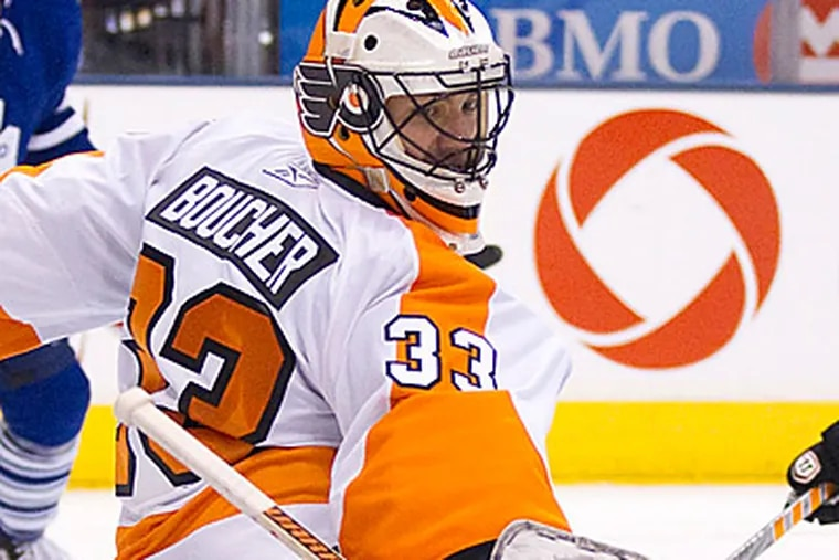 Brian Boucher allowed just one goal on 32 shots in the Flyers 4-1 win over the Maple Leafs. (AP Photo/The Canadian Press, Frank Gunn)