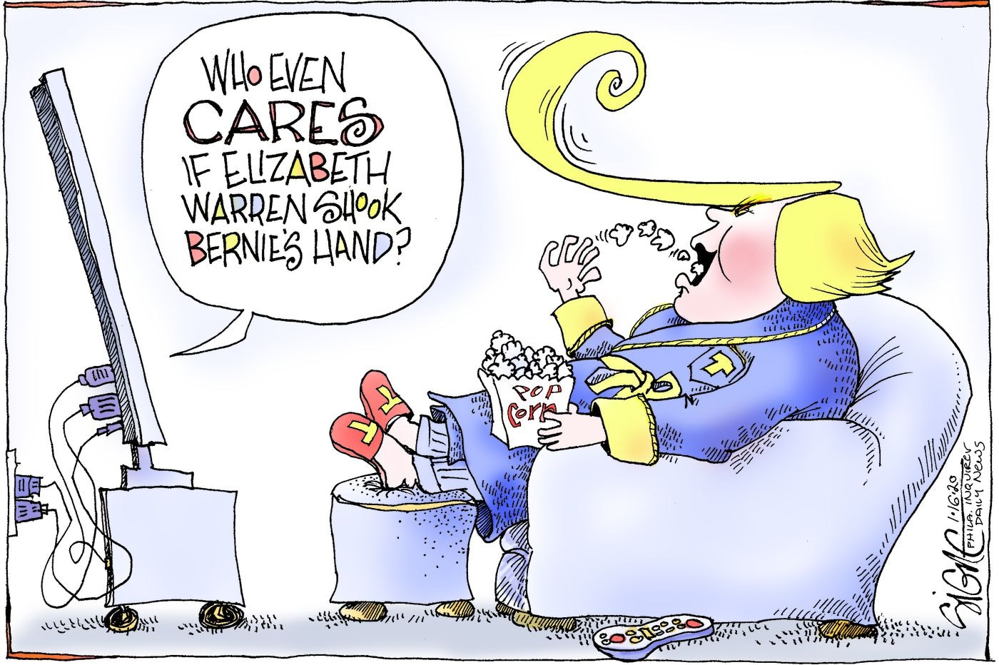 Political Cartoon: Elizabeth Warren is handshaking up the Democratic Debate