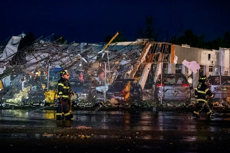 The scene at Faulkner Auto Group service center after a tornado hit in Trevose on July 28.