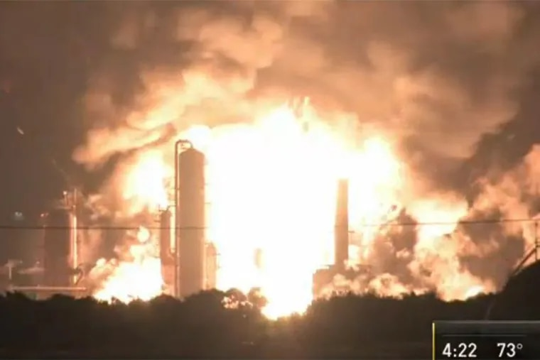 An explosion at the Philadelphia Energy Solutions refinery in South Philadelphia, as captured by NBC10, on the morning of June 21, 2019.