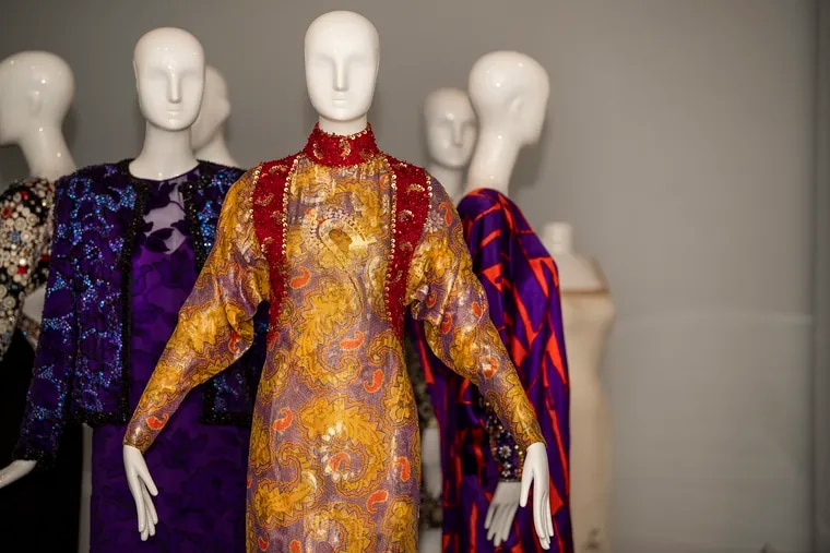 """Couture dresses from the """"James Galanos: Design Integrity"""" an exhibit at Drexel University's Pearlstein Gallery  JOSE F. MORENO / Staff Photographer"""