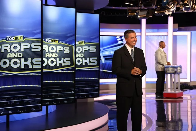 """Scott Grayson (left) and Garry Cobb rehearse ahead of the premier of  """"Props & Locks,"""" a new Fox 29 show focused on sport gambling that will air Thursday nights before """"Thursday Night Football."""""""