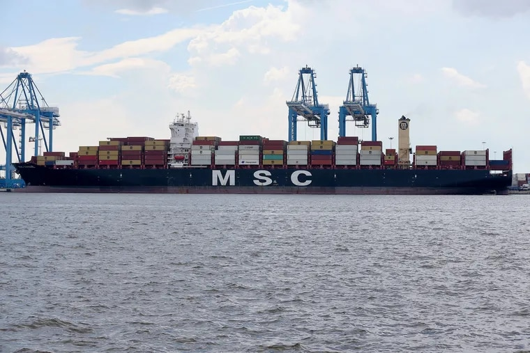 The MSC Gayane is pictured at the Packer Avenue Marine Terminal in South Philadelphia on June 18, 2019. Officials seized nearly 20 tons of cocaine from shipping containers aboard the ship.