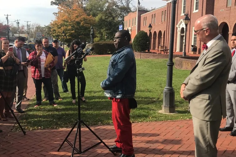 Rodney Cotton, 51, a campaign informant used by Atlantic City Mayor Don Guardian talks to the press outside the Atlantic County Clerk's office.