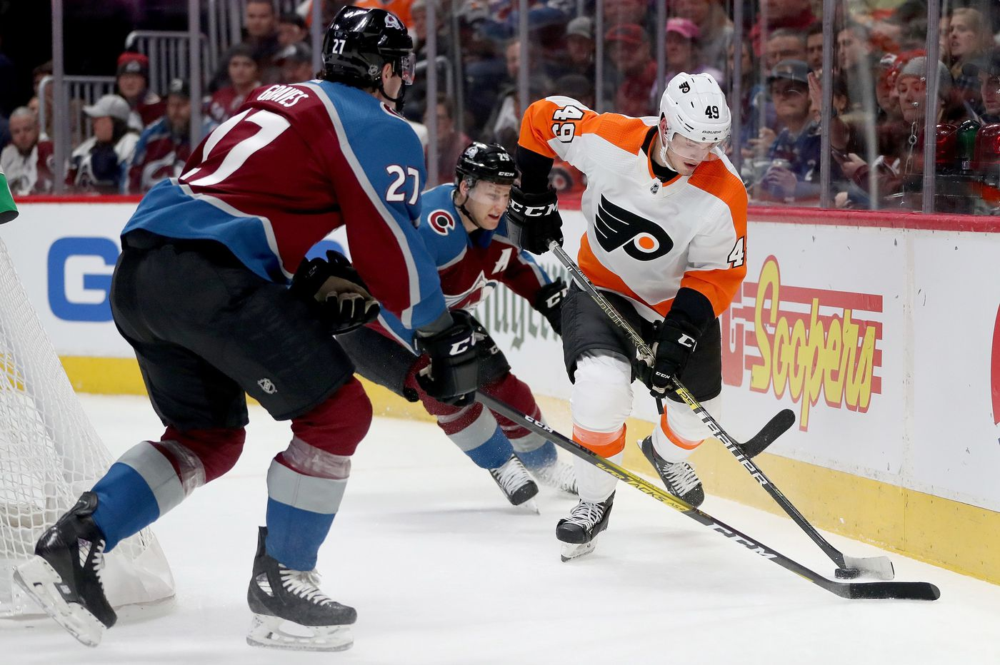 Shorthanded Flyers fall to Colorado, 3-1; loss is only 2nd in 8 games