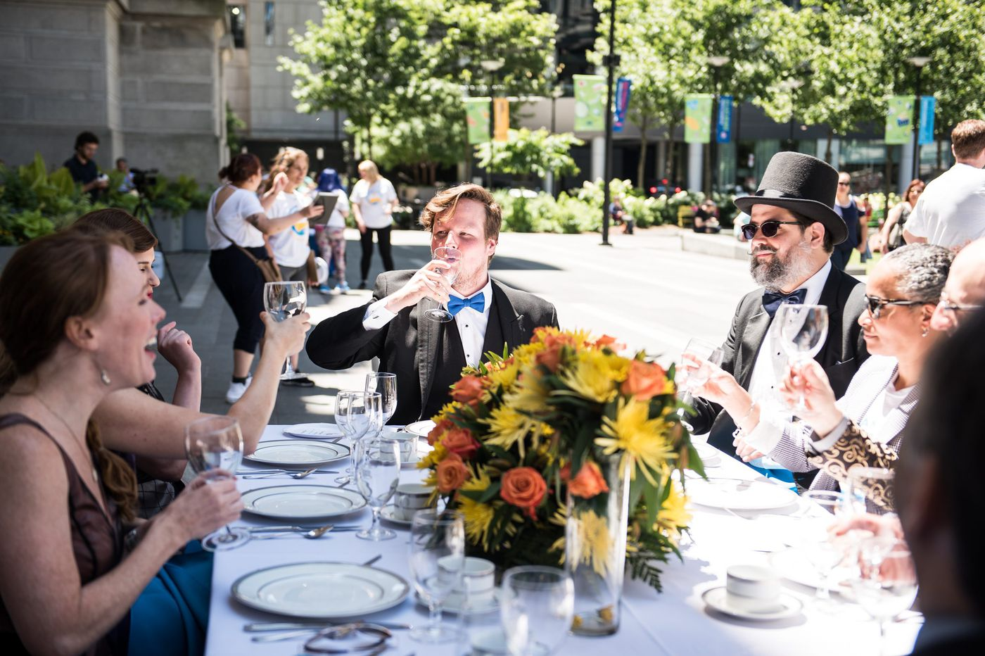 An 'invisible' three-course lunch served at Dilworth Park to raise awareness for homeless youth