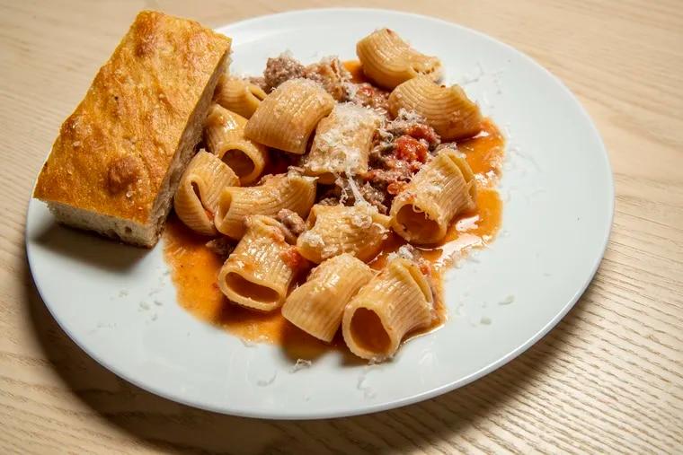 The Rigatoni with Fiorella Sausage Ragu that was offered at the preview for Marc Vetri's pasta bar, Fiorella.