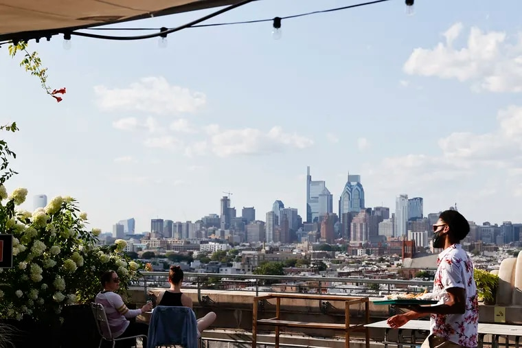 View of Center City Philadelphia from the BoK Bar atop the BOK building in South Philadelphia on Thursday, August 5, 2021.