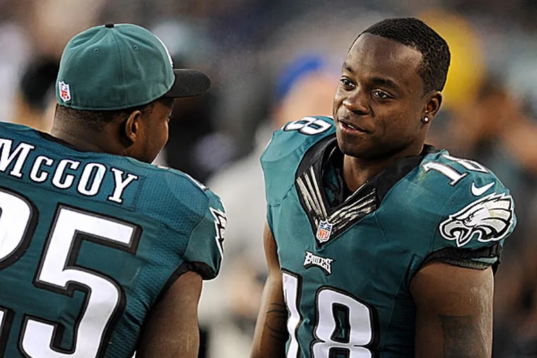 Eagles wide receiver Jeremy Maclin and running back LeSean McCoy. (Clem Murray/Staff Photographer)