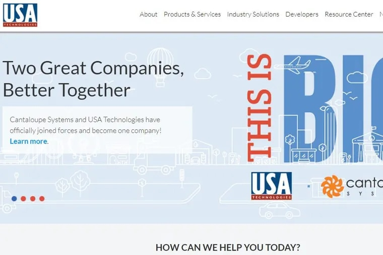 The USA Technologies home page, announcing the Malvern company's  agreement to buy a San Francisco-based rival.