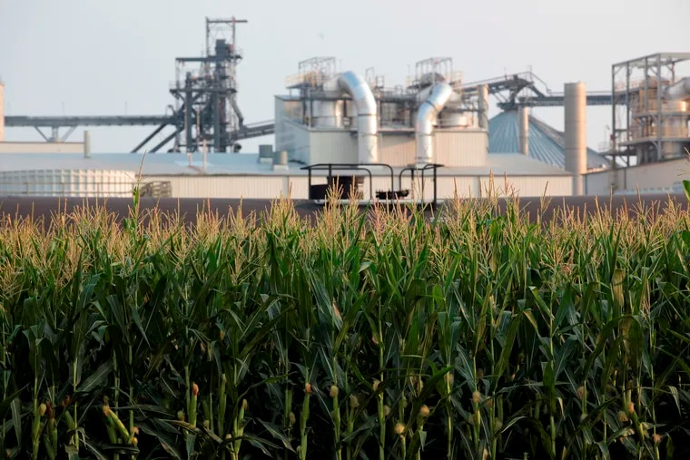Project developers plan to build carbon capture pipelines connecting dozens of Midwestern ethanol refineries, such as this one in Chancellor, S.D., shown on Thursday, July 22, 2021. Corn absorbs the greenhouse gas carbon dioxide, but the process of fermenting it into ethanol releases carbon dioxide emissions.
