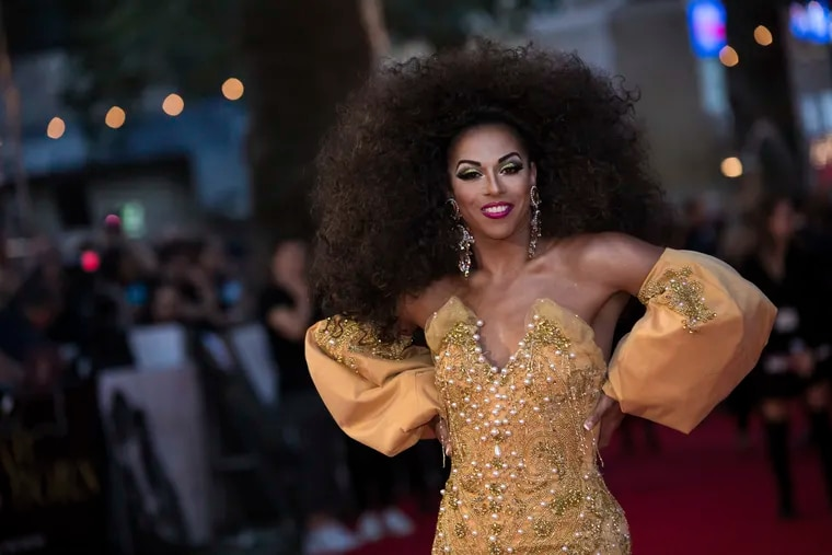 Shangela Laquifa Wadley poses for photographers upon arrival at the premiere of the film 'A Star Is Born' in London, Thursday, Sept. 27, 2018.
