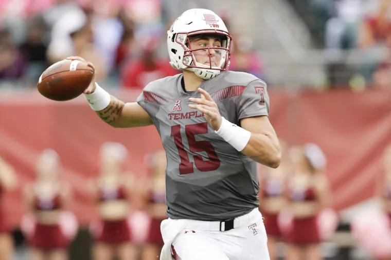 Temple quarterback Anthony Russo throws the football against East Carolina on Saturday, October 6, 2018. YONG KIM / Staff Photographer