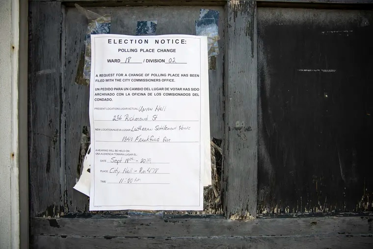 Philadelphia elections officials have moved 89 polling places for next week's municipal election.