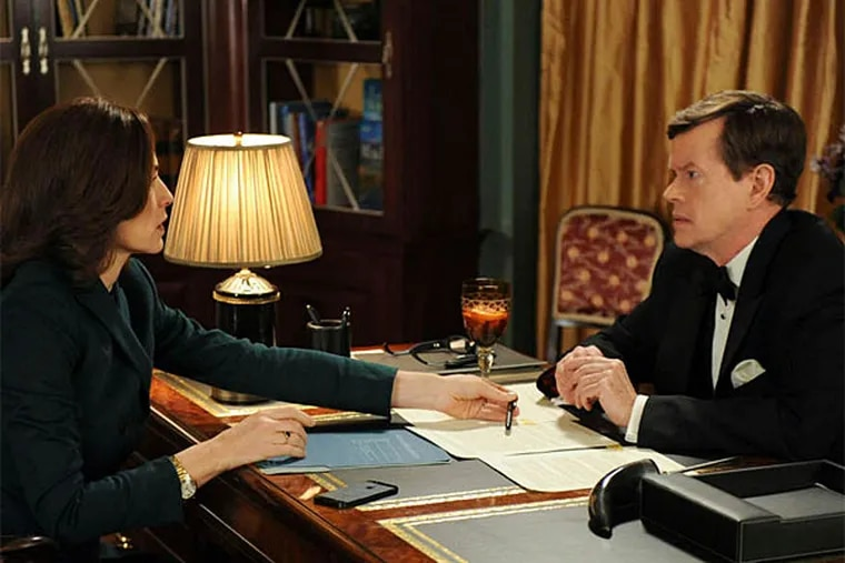 """""""Tying the Knot""""--When Alicia pays a visit to longtime client Colin Sweeney, she finds herself in the unwanted role of witness when a dead body is discovered in his home.  Meanwhile, Eli steps in when an unfortunate picture of Zach threatens to become a public relations nightmare for Peter, on THE GOOD WIFE, Sunday, April 27 (9:00-10:00 PM, ET/PT) on the CBS Television Network. Pictured L-R: Julianna Margulies as Alicia Florrick and Dylan Baker as Colin Sweeney (Photo: David M. Russell/CBS �©2014 CBS Broadcasting, Inc. All Rights Reserved)"""