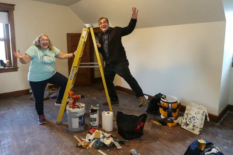Diana Baldi is president of the Phoenixville Time Bank. Diana and her husband Bruce in their new space. Time Bank is one of the oldest groups in the area. People post on the website what tasks they need help with and what they can offer. It's not a direct exchange. Wednesday,  January  8, 2020.