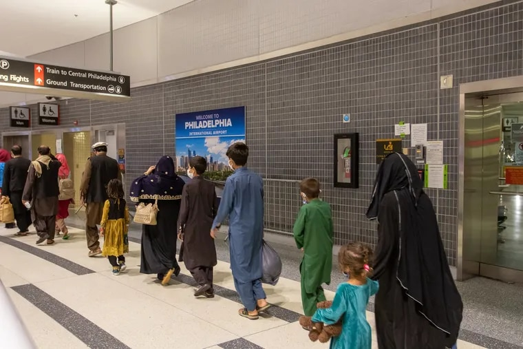 An image from the City of Philadelphia shows the arrival of Afghan evacuees at Philadelphia International Airport in August 2021.