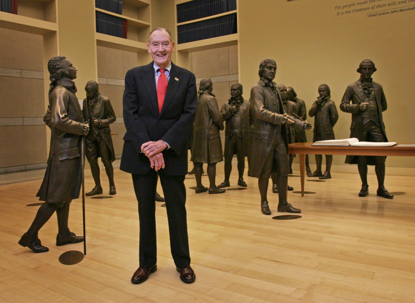John Bogle, founder of The Vanguard Group,Inc. was Chairman of the Board of the National Constitution Center in 2006 when he stood beside one of his favorite signers, Alexander Hamilton, far left.