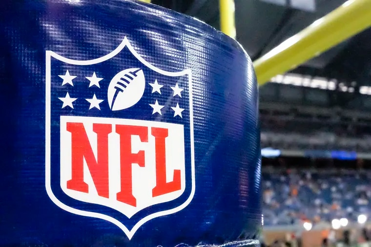 An NFL logo on a goal post pad before a preseason NFL football game in 2014.