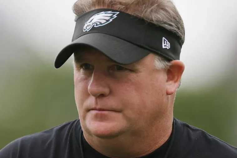 Chip Kelly walks on the field during a joint workout with the New England Patriots at NFL football training camp in Philadelphia, Wednesday, Aug. 7, 2013. (Matt Rourke/AP)