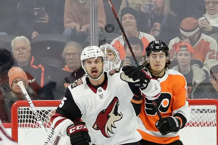 Flyers right winger Travis Konecny, battling with Arizona Coyotes center Brad Richardson on Thursday, is scrappy on the ice and a class clown in the locker room.
