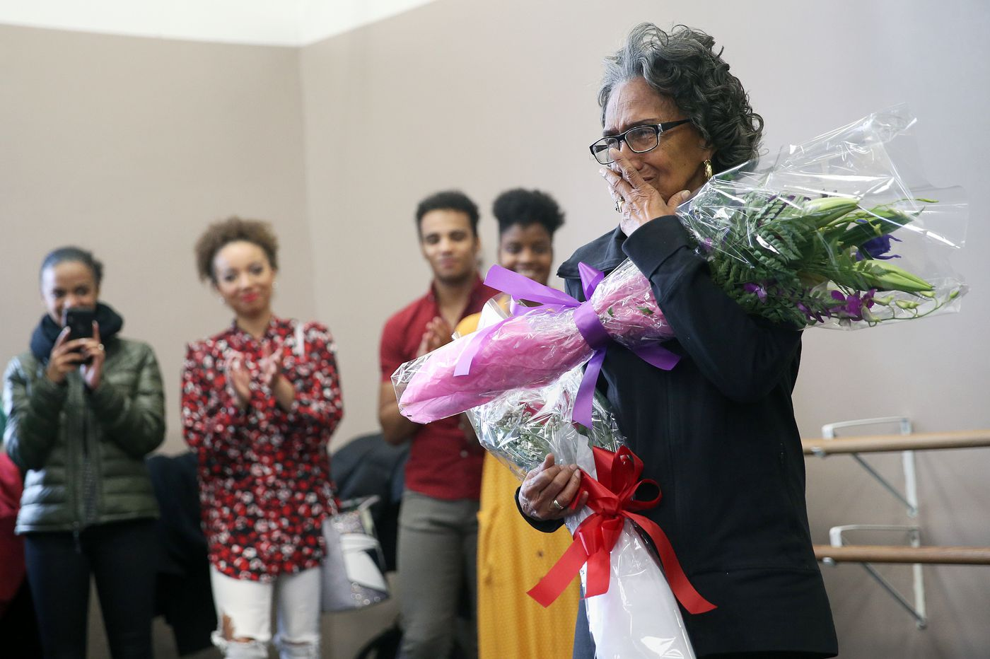 40 of America's elite dancers surprise Philadanco founder Joan Myers Brown with a toast