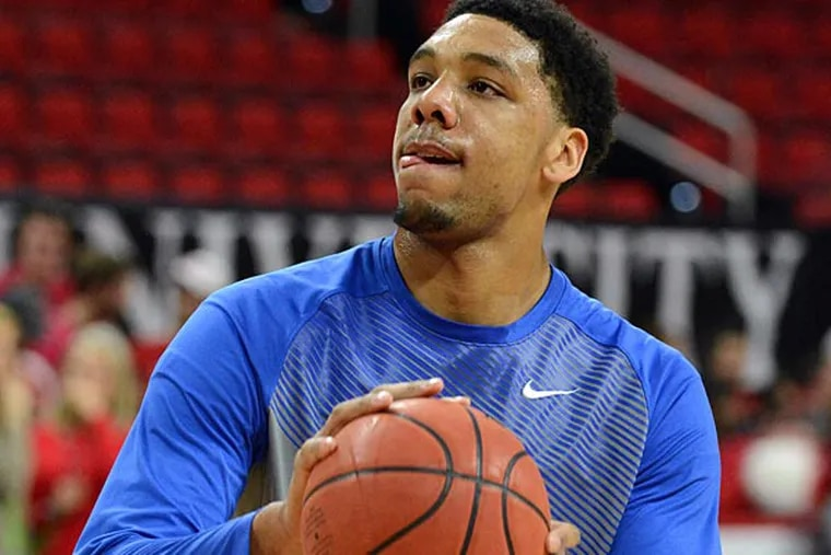 Duke Blue Devils center Jahlil Okafor (15) warms up prior to a game against the North Carolina State Wolfpack at PNC Arena. (Rob Kinnan/USA Today)