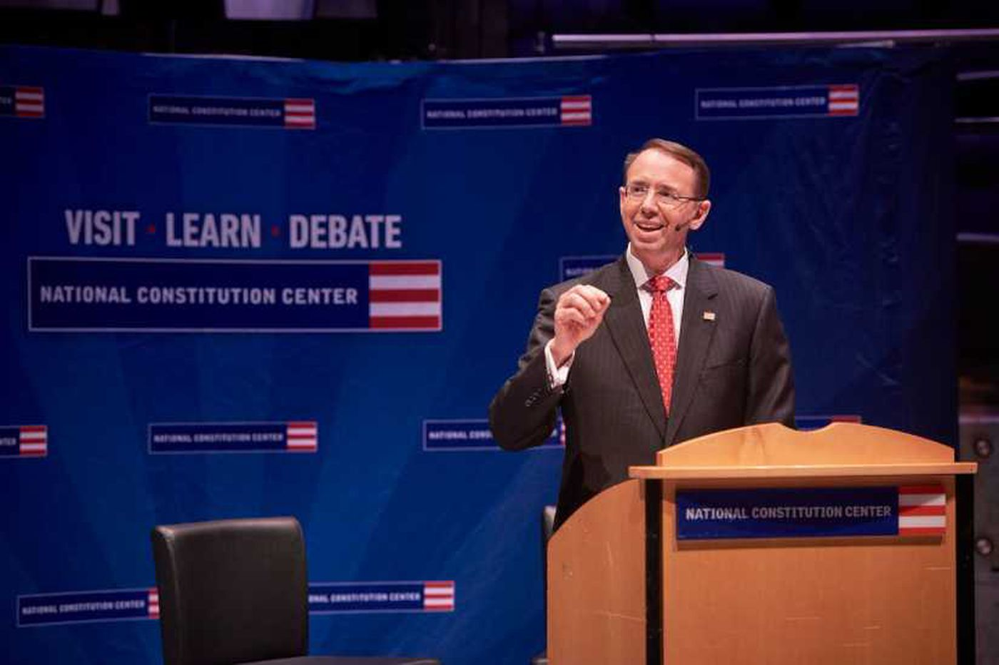 Deputy AG Rosenstein addresses Constitution Center crowd, stays mum on Mueller