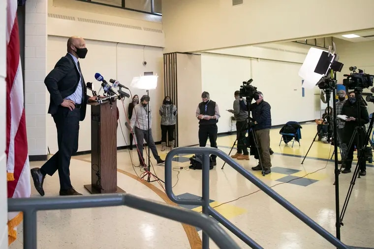Philadelphia school district superintendent William Hite speaks during a press conference at Cayuga Elementary announcing that Philadelphia public schools have pushed back their targeted date for reopening schools for prekindergarten through second grades to March 1.