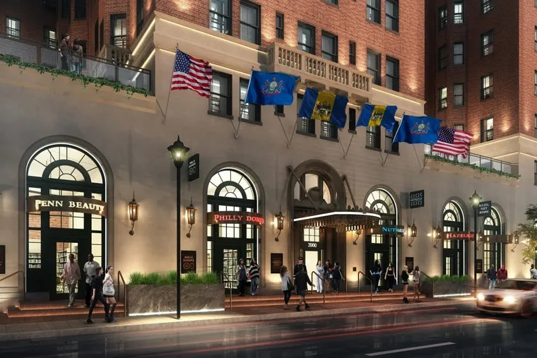 Artist's rendering of Chestnut Hall apartments following improvements to building's 39th Street-facing streetscape.