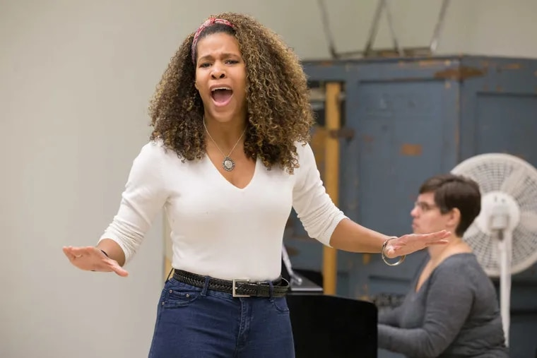 """Paige Smallwood performs the song """"Warrior"""" during a classroom audition at Temple University before theater professionals. Students receive feedback from experts all semester."""