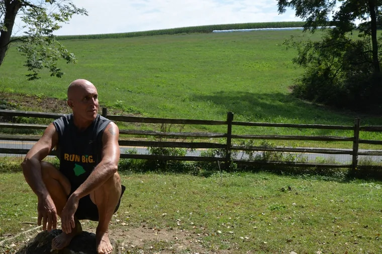 Born To Run author Chris McDougall at the Lancaster County farm he bought after a childhood in Drexel Hill and an early career overseas and in Philadelphia. This is where he trained Sherman, a clinging-to-life donkey, to be his partner in running.
