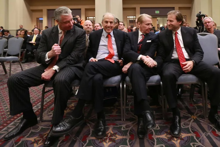 At the hearing in 2014 awarding the second casino license for Philadelphia were winning partners (from left) Anthony Ricci, David Cordish, Bob Green, and Joe Weinberg.