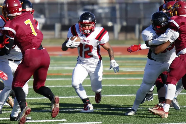 Northeast running back Daniel Scott finds an opening against Central in the first quarter of the teams' annual Thanksgiving Day football game Thursday, Nov. 23.