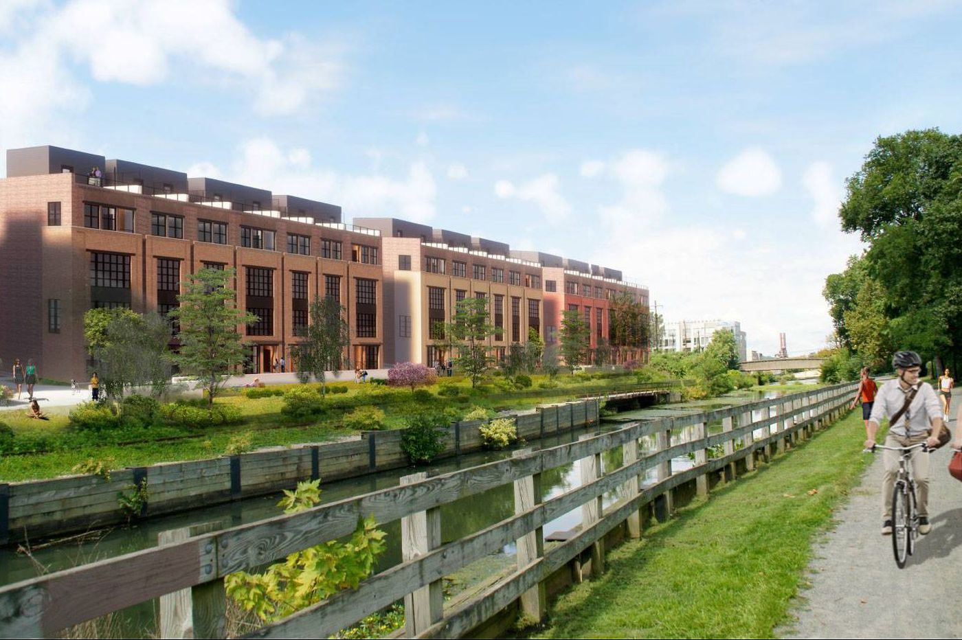 63 luxury townhouses for sale on long vacant Venice Island property in Manayunk