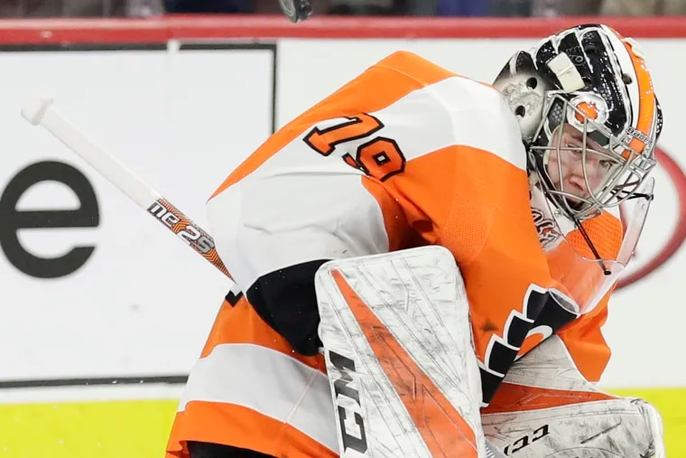 Flyers goaltender Carter Hart has a 4-2-2 record this month.