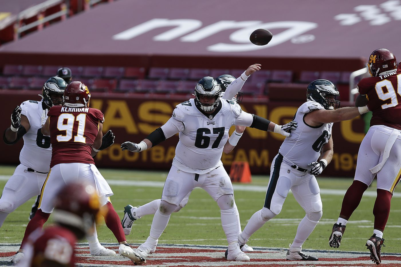 Eagles offensive line is set with Nate Herbig at left guard, Matt Pryor on the right