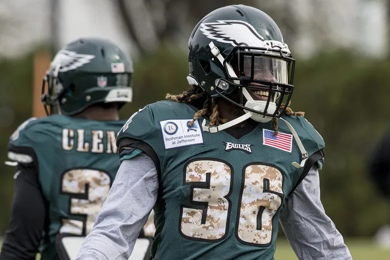 Newly acquired Eagles running back Jay Ajayi has a laugh during his first workout with the Eagles.