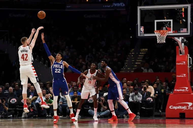 Washington Wizards forward Davis Bertans takes a three-point shot against the Sixers at Capital One Arena on Thursday. Bertrans hit a career-high seven three-pointers in Washington's 119-113 win.