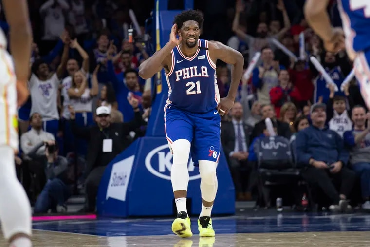 Sixers Joel Embiid reacting after scoring 49 points against the Atlanta Hawks at the Wells Fargo Center on Feb 24.