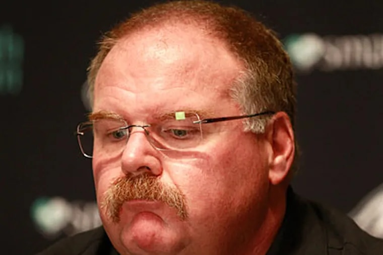 Andy Reid said he hasn't talked to owner Jeffrey Lurie about his future with the Eagles. (David Swanson/Staff Photographer)