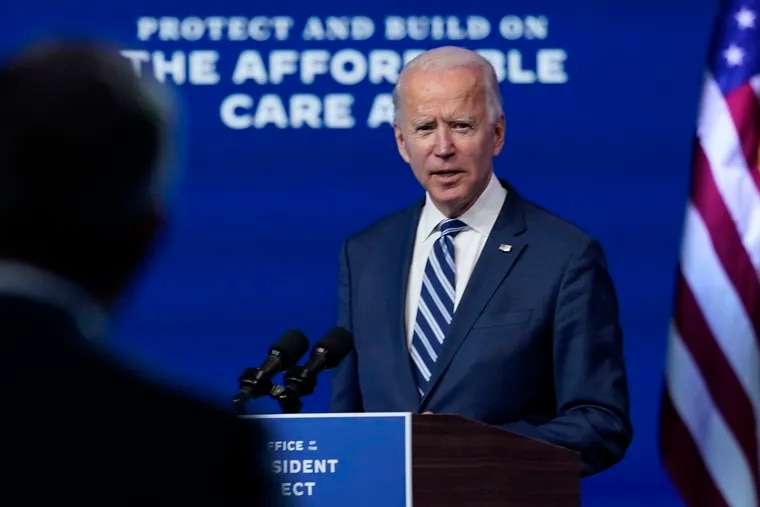 President-elect Joe Biden answers a reporter's question at The Queen theater on Tuesday in Wilmington, Del.