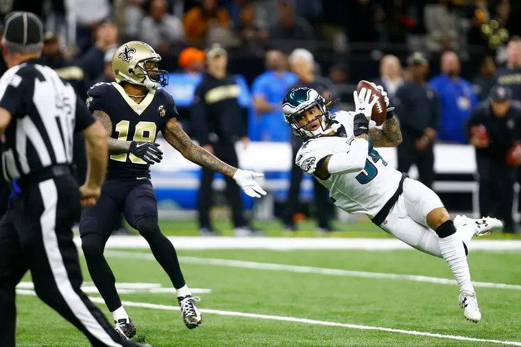 Eagles cornerback Cre'von LeBlanc intercepts the ball in January's playoff loss to the Saints. LeBlanc is due back after an injury on Sunday against the Dolphins.