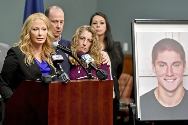 District Attorney Stacy Parks Miller (left) announces findings in an investigation into the death of Penn State University fraternity pledge Tim Piazza, seen in photo at right, as his parents, Jim and Evelyn Piazza, stand nearby during a May news conference.