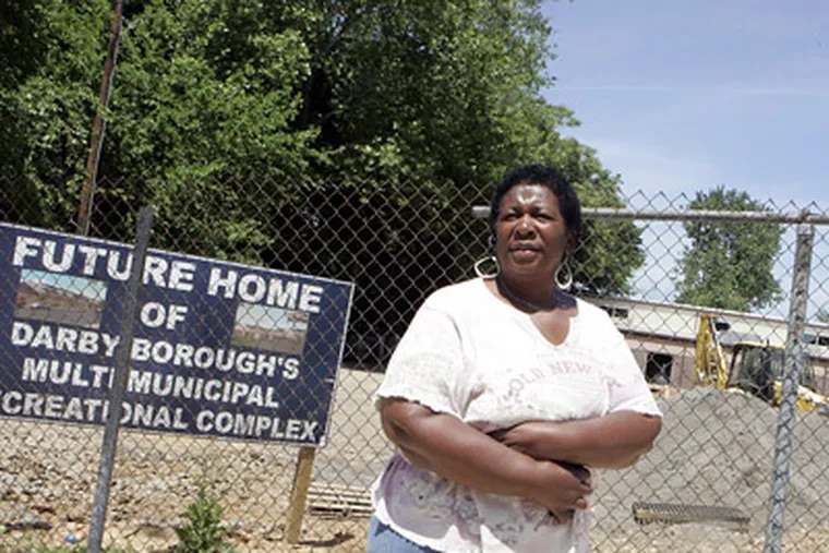 Council President Janice Davis stands at the future site of Darby's recreation center. The complex will include the district court and police station. (Bonnie Weller / Staff Photographer)