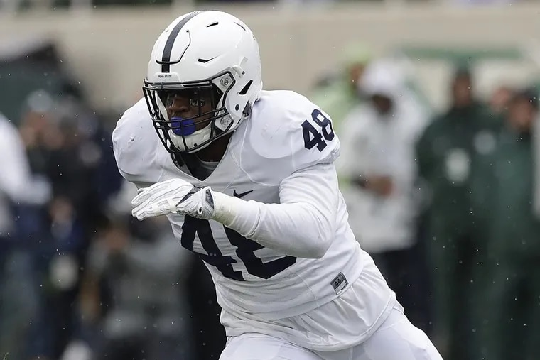 Penn State defensive end Shareef Miller during the first half of an NCAA college football game against Michigan State, Saturday, Nov. 4, 2017, in East Lansing, Mich.