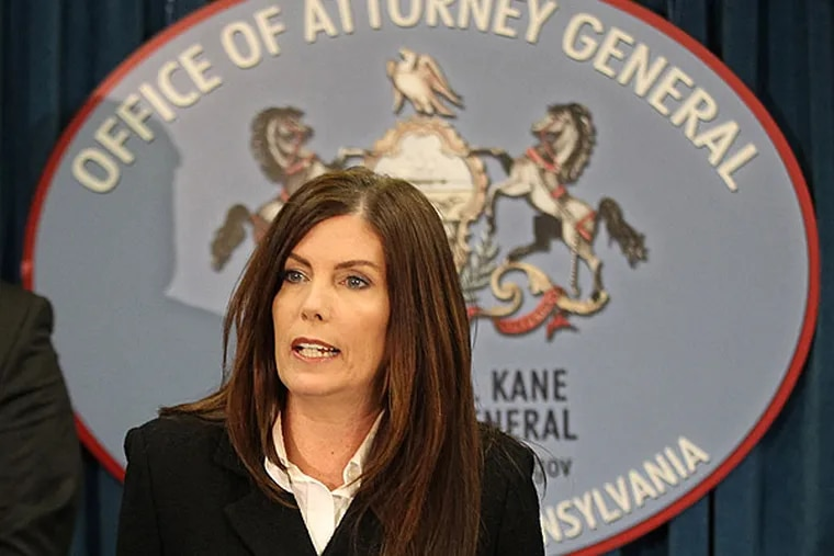 Pennsylvania Attorney General Kathleen Kane addresses the media on the aborted undercover investigation that captured Democrats taking money on tape. 03/17/2014 ( MICHAEL BRYANT / Staff Photographer )
